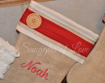Personalized Stocking - Personalized Burlap Christmas Stocking, Burlap Stocking with Wood Button, Handmade Stocking, Rustic Country Stocking