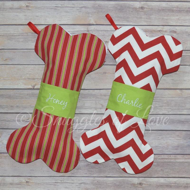 Personalized Dog Bone Christmas Stocking