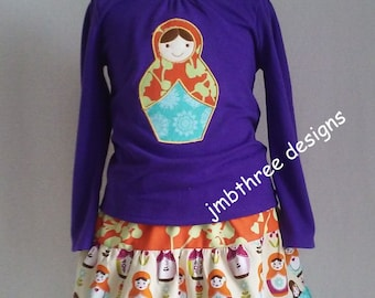 SALE Girls Embroidered Tee shirt Russian Matryoshka Doll Skirt set size 3t  Ready To Ship