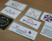600 Custom Artwork Taffeta Clothing Woven Labels free font styles colors never fade - professional quality free design service and shipping