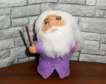 Albus Dumbledore Miniature Crocheted Doll  Ready to Ship