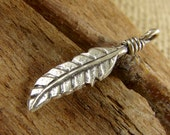 Hill Tribe Fine Silver Feather Charm or Petite Pendant - Wire Wrapped Detail - Thai Silver - Fine Silver - htfsfcpp
