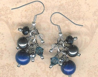 Semi-Precious Stone Earrings, Sodalite, Hematite, Swarovski Crystal, Denim Blue Earring, Wire-Wrapped Stone Earring, Earth Lover, Blue, Gift