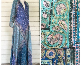 VINTAGE 70s deadstock INDIA silk batik angel sleeve maxi dress