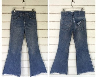 VINTAGE 70s LEVIS 684 bell bottom denim flares jeans 30 X 30