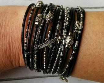 Ladies Wrap Bracelet - Boho Leather Wrap Bracelet - Black and Silver Beaded Wrap Bracelet - Best Boho - Choose FOUR Charms  & Leather Color