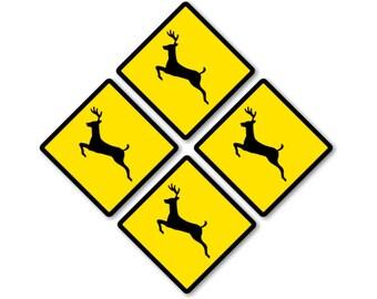 Deer Crossing Sign Coasters - Set of 4