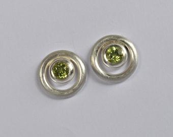 circle stud earrings with gemstones