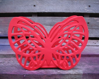 Butterfly Poppy Red Brass Napkin Paper Towel Holder Kitchen Home Decor Butterflies Dining Room Decor Mail Holder