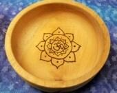 Meditation Bowl - Wooden Bowl - Om Symbol - Gemstone Bowl - Altar Bowl - Om Sign - Crystal Bowl - Chakra Crystals - Healing Crystals