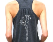 Ladies Flowy Racerback Tank - Hand Drawn Poppies Design - Small, Medium, Large, Extra Large, 2XL