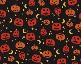 Pumpkin Moon Star Halloween Fabric  - Timeless Treasures - C3374 - Black Orange Yellow