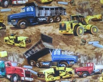 Earth Moving Equipment Fabric - Timeless Treasures - C9813 - Dump Trucks, Cement Trucks