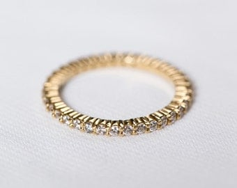 Yellow Gold Eternity Wedding Ring | Blush Engagement Ring | Diamond Halo Wedding Band | Gold Anniversary Ring [The Reina Ring]
