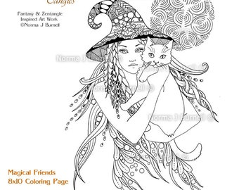Mirror Printable Fairy Tangles Coloring Page Adult