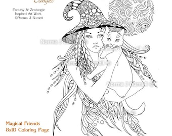 Miss Witch Printable Fairy Tangles Coloring Book Pages