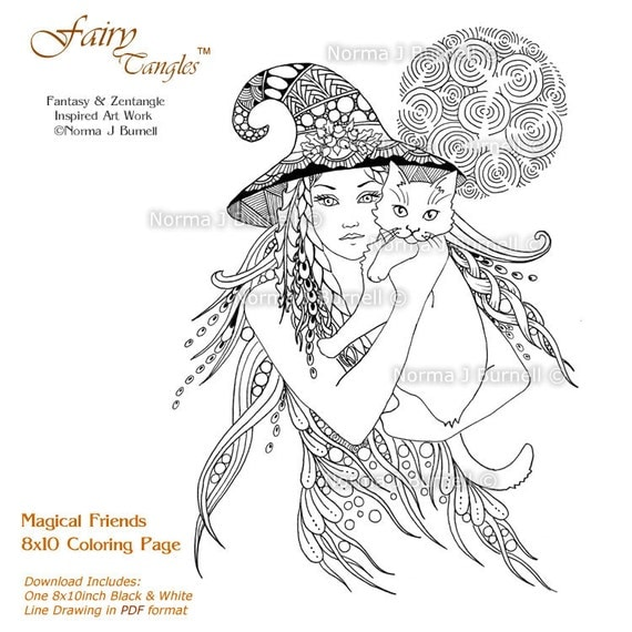 Magical Friends 8x10 Fairy Tangles Printable Coloring Pages