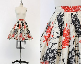 50s Cotton Skirt XS / 1950s Asian Print High Waist Full Skirt / Shibuya Skirt