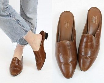90s Leather Slides 9 / 1990s Vintage Brown Slip On Mules / The Monica Shoe