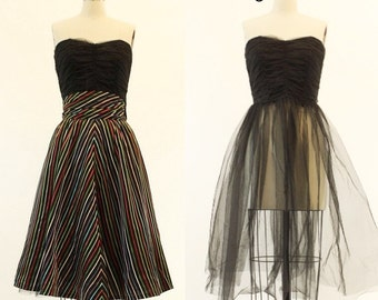 50s Tulle Dress XS / 1950s Strapless Convertible Dress /  Black Forest Dress