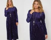 Vintage 80s Midnight Blue VELVET Maxi Dress GOTH Maxi Dress HIPSTER Dress