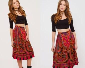 Vintage 80s PAISLEY Skirt Gypsy Print Pleated Skirt Ethnic Print HIPSTER Skirt Boho Skirt