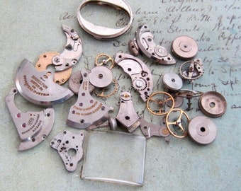 Vintage WATCH PARTS gears - Steampunk parts - R61 Listing is for all the watch parts seen in photos