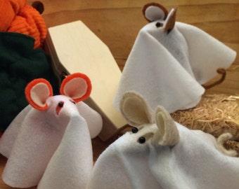 Three little Felt Ghost Mice  Halloween decorations  soft sculpture