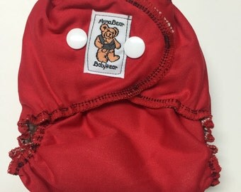 MamaBear Quick Dry Newborn/Preemie Diaper - AIO - Really Red
