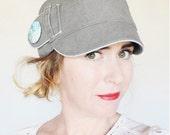 KEPP JONES ---x--- Women's newsboy hat made from reclaimed Trouser in 'Eucalyptus Jane' - S and M