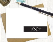 personalized stationery set - STATELY MONOGRAM - set of 8 folded note cards - personalized stationery - stationary cards - choose color