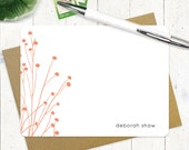 personalized stationery set - DAINTY FLOWERS - set of 12 flat note cards - choose color - personalized stationary