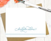 personalized stationery set - SCRIPT AND DOTS - set of 8 folded note cards - personalized stationary - typography - fun lettering