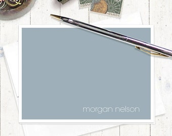 personalized stationery set note cards - MODERN MINIMALIST - set of 8 - personalized stationary folded - choose color
