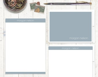 complete personalized stationery set - MODERN MINIMALIST - personalized stationary set - note cards - notepad - choose color