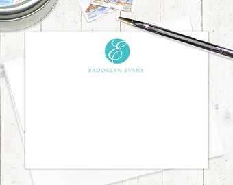 personalized note cards stationery set - ROUND SCRIPT MONOGRAM - set of 12 flat cards - stationary - monogrammed