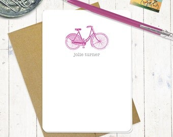personalized note cards stationery set - VINTAGE GIRLS BICYCLE - set of 8 folded cards - personalized stationary - women's bike