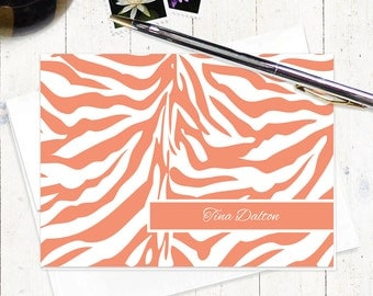 personalized stationery set - ZEBRA PRINT - set of 8 folded note cards - stationary - animal print