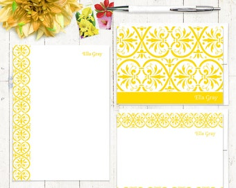 complete personalized stationery set - ELEGANT ELLA - personalized stationary set - note cards - notepad - choose color