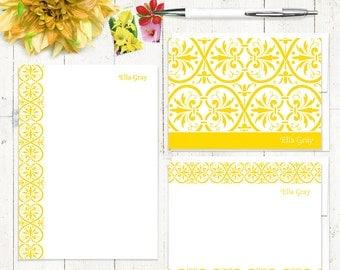 complete personalized stationery set - ELEGANT ELLA - personalized stationary set - note cards - notepad - choose color