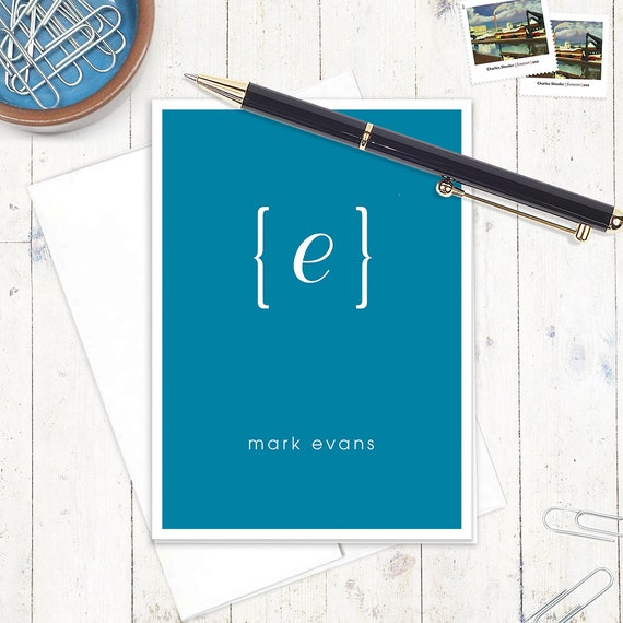 personalized note cards stationery set - your NAME your INITIAL MONOGRAM - set of 8 - monogrammed notecard