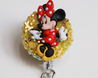 Flirty Minnie Mouse ID Badge Reel - Retractable ID Badge Holder - Zippers - Zipperedheart