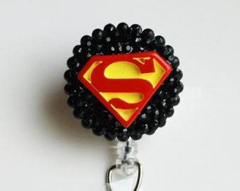 Superman ID Badge Reel - RN ID Badge Holder - Zipperedheart