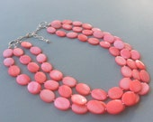 Salmon Pink Multi Strand Necklace Pink Mother of Pearls Chunky Necklace.Salmon Pink Bridal Jewelry