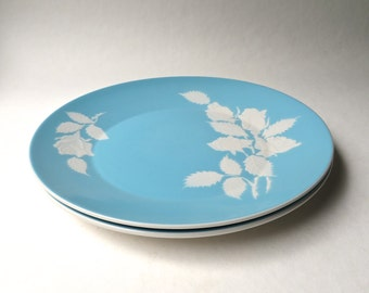 Mid Century vintage Harmony House Cameo Rose Dinner Plates / Set of 2 / Aqua Blue and Embossed White Rose Plates