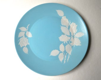 Mid Century vintage Harmony House Cameo Rose Round Serving Platter / Aqua Blue and Embossed White Rose Platter