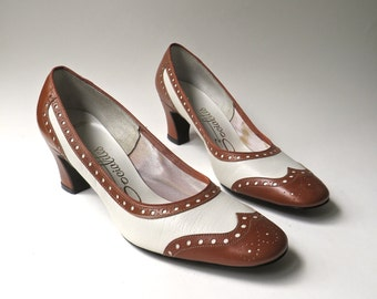 60s vintage Socialites Brown and White Leather Spectator Pumps NOS / Two-Tone Wingtip Leather Pumps