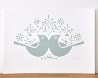 Birds and Berries in a Soft Winter Green Ink - Open Edition Giclee Print
