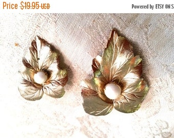 50% OFF Sarah Coventry Two Gold Tone Leaf Pins with Faux Pearls Vintage Scatter Pins