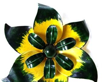 Enamel Flower Pin Vintage Brooch Yellow Green
